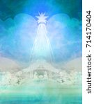 biblical scene   birth of jesus ... | Shutterstock . vector #714170404