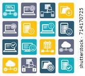 database and network icon set... | Shutterstock .eps vector #714170725