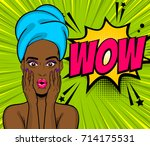 beautiful sexy black african... | Shutterstock .eps vector #714175531