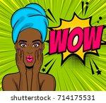 beautiful sexy black african... | Shutterstock .eps vector #714175531