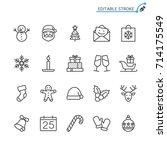 christmas line icons. editable...