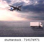 wide skies and wide asphalt... | Shutterstock . vector #714176971