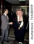 Small photo of Deputy Secretary of State Kenneth Dam poses Saudi Arabia Ambassador to the United States Prince Bandar bin Sultan after he had presented his official credentials Washington DC., October, 1983.