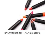 lipstick pencil isolated on...   Shutterstock . vector #714181891