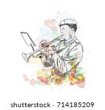 watercolor sketch of man... | Shutterstock .eps vector #714185209