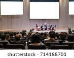 rear view of audience over the... | Shutterstock . vector #714188701