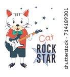rock star cat with guitar.... | Shutterstock .eps vector #714189301