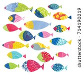 fish. set. cute decorative... | Shutterstock .eps vector #714190219
