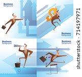 vector set of cartoon images of ... | Shutterstock .eps vector #714197971