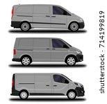 realistic cargo van. set. | Shutterstock .eps vector #714199819