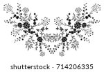 black floral embroidery... | Shutterstock .eps vector #714206335