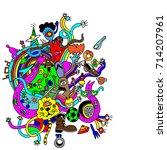 cartoon  hand dawn vector... | Shutterstock .eps vector #714207961