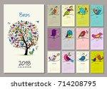 birds tree  calendar 2018... | Shutterstock .eps vector #714208795