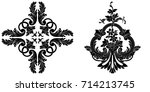 set of vintage baroque ornament ... | Shutterstock .eps vector #714213745