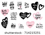 set of valentine's day hand... | Shutterstock .eps vector #714215251