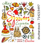 hand drawn spain symbols and... | Shutterstock .eps vector #714215497