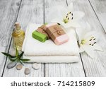 spa products with white lily on ... | Shutterstock . vector #714215809