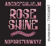 rose shine typeface. pink gold... | Shutterstock .eps vector #714216067