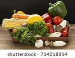 heap of fresh fruits and... | Shutterstock . vector #714218314