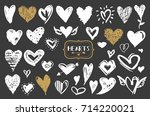 hearts vector set. hand drawn... | Shutterstock .eps vector #714220021