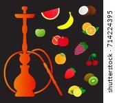 hookah silhouette with... | Shutterstock .eps vector #714224395