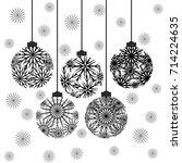 christmas balls. snowflake... | Shutterstock .eps vector #714224635
