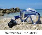 Snorkeling set on Karon beach of Phuket island, Thailand - stock photo