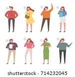 phone call people character... | Shutterstock .eps vector #714232045