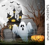 vector illustration of scary... | Shutterstock .eps vector #714235471
