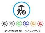 walking banker with umbrella... | Shutterstock .eps vector #714239971