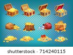 gold treasures with expensive... | Shutterstock .eps vector #714240115