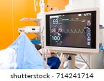 close up of heart monitor in...   Shutterstock . vector #714241714
