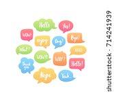 trendy color speech bubbles set ...   Shutterstock .eps vector #714241939