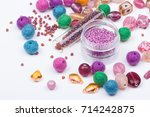 colored beads. glass  seed... | Shutterstock . vector #714242875