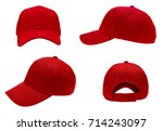 blank red baseball cap 4 view... | Shutterstock . vector #714243097