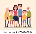 big family portrait. happy... | Shutterstock .eps vector #714246094