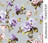 shabby chic vintage roses ... | Shutterstock .eps vector #714247519