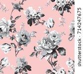 shabby chic vintage roses ...   Shutterstock .eps vector #714247675