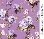 shabby chic vintage roses ... | Shutterstock .eps vector #714247765