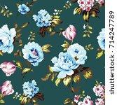 shabby chic vintage roses ... | Shutterstock .eps vector #714247789