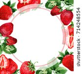 strawberry healthy food frame... | Shutterstock . vector #714248554