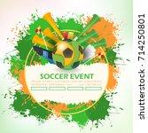 soccer poster template. paper... | Shutterstock .eps vector #714250801