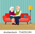 old family on sofa. grandfather ... | Shutterstock .eps vector #714251194