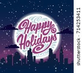 holiday greeting card with... | Shutterstock .eps vector #714253411