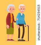 an elderly couple is walking... | Shutterstock .eps vector #714254515