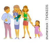 nanny with kid and family | Shutterstock .eps vector #714262231