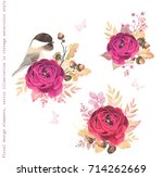 floral autumn decorations with... | Shutterstock .eps vector #714262669