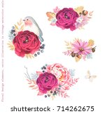 floral autumn decorations with... | Shutterstock .eps vector #714262675