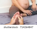 foot swelling during pregnancy...   Shutterstock . vector #714264847