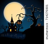 happy halloween dark poster... | Shutterstock .eps vector #714270301